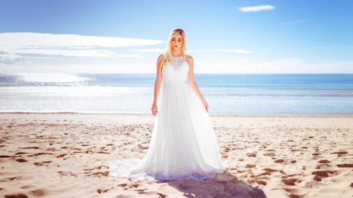 Photo de mariée à la plage